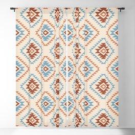 Aztec Style Motif Pattern Blue Cream Terracottas Blackout Curtain