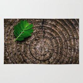 Green leaf Brown wood Rug