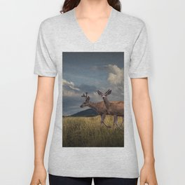 Mule Deer with Velvet Antlers in the Bighorn Mountains Unisex V-Neck