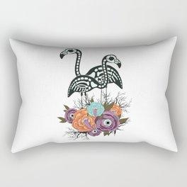 Flamingo Skeleton With Halloween Flowers Rectangular Pillow