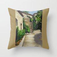 arab Throw Pillows featuring Arab Baths in Palma DP150724a by CSteenArt