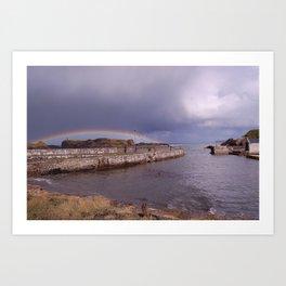 Rainbow Over Ballintoy Harbour, County Antrim, Northern Ireland Art Print