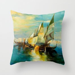 Scene with Sailboats landscape by Robert Rafailovich Falk Throw Pillow