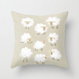 Herd of sheep Throw Pillow