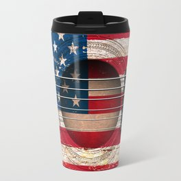 Old Vintage Acoustic Guitar with American Flag Travel Mug