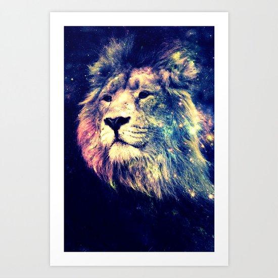 Galaxy Lion : Deep Pastels Art Print