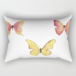Butterflies Illustration Watercolor - Warm colors Rectangular Pillow