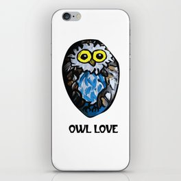 Owl Love Rock Painting on River Rock by annmariescreations iPhone Skin