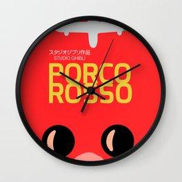Porco Rosso, japanese movie poster, classic anime, cult manga, Marco Pagot, japan film, alternative movies art, minimalist playbill Wall Clock