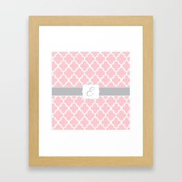 """Baby Pink Geometric Pattern with Silver """"E"""" Monogram Framed Art Print"""