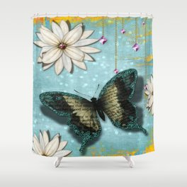 White Flower with Butterfly and jewels Shower Curtain