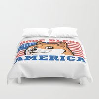 doge Duvet Covers featuring Doge Bless America by Tabner's