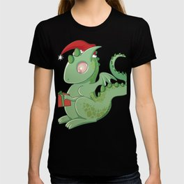 Baby Dragon Cute Christmas Hat Gift Santa's Little Helper T-shirt