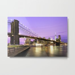Brooklyn Bridge at night. New York Metal Print
