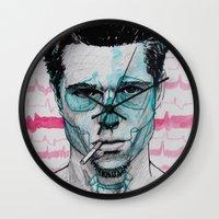 tyler durden Wall Clocks featuring Tyler Durden by Bronsolo