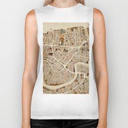 New Orleans Street Map Biker Tank