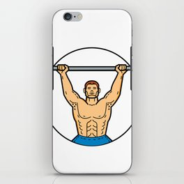 Weightlifter Lifting Barbell Mono Line Art iPhone Skin