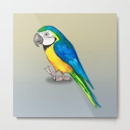 Blue and yellow macaw watercolor Metal Print