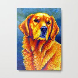 Faithful Friend - Colorful Golden Retriever Metal Print