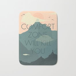 Comfort zone quote, mountains lover, free climbing, inspirational wall art, motivational quotes, Bath Mat