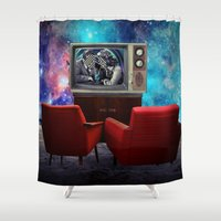 tv Shower Curtains featuring Television by Cs025
