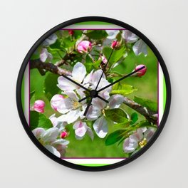Green--yellow  White Pinkish Apple Blossoms. Wall Clock