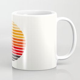 Orange Mid Century Modern Minimalist Scandinavian Colorful Stripes Round Circle Frame Coffee Mug