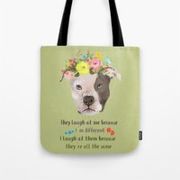 pitbull Tote Bags featuring Pitbull by Elisandra