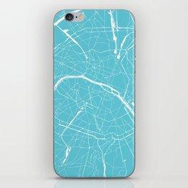 Paris France Minimal Street Map - Turquoise Blue iPhone Skin