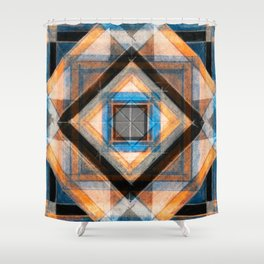 Hand Made Edited Pencil Geometry in Blue, Orange and Black Shower Curtain