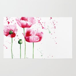 Expressive poppies || watercolor Rug