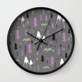 Hiking trees and mountains -pink Wall Clock