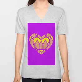Purple and Yellow Patterns and a Heart #2 Unisex V-Neck