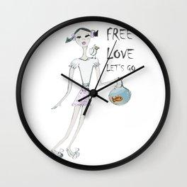 FREE LOVE_01 Wall Clock