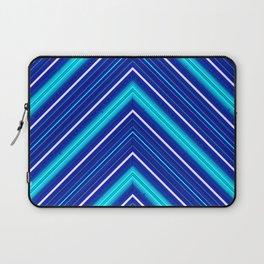 Morn Diagonal Chevron Sripes Shades of Blue Laptop Sleeve