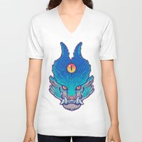 foo fighters V-neck T-shirts featuring Blue Foo by missmonster