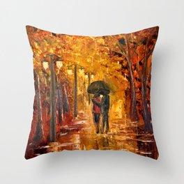 Les amoureux sous la pluie Throw Pillow