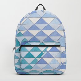 Triangle Pattern No. 9 Shifting Blue and Turquoise Backpack