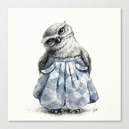 Owl With Wide Leg Trousers Canvas Print
