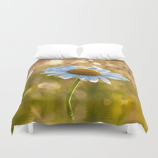 Daisy in a meadow after rain at backlight Duvet Cover