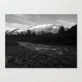Byron Glacier Trail, Chugach, Alaska, Black and White Canvas Print