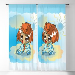 Cute ginger haired baby with a carrot Blackout Curtain