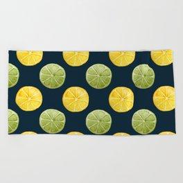 Watercolor Lemon Lime Pattern Beach Towel