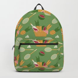 Seamless pattern with picnic basket and badminton set Backpack
