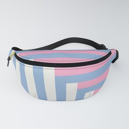 Pastel Colors Geometric Pin, White and Blue Stripes Fanny Pack