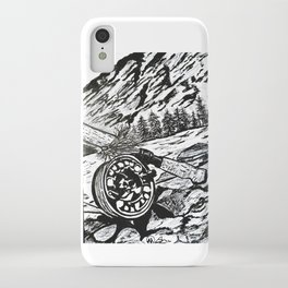 """Opening Day"" Fly Fishing Art, Original Fishing Drawing, Mountain River Stream iPhone Case"