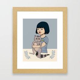 Aya and her cat Framed Art Print