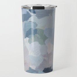 Navy Indigo Gray Blue Blush Pink Lavender Abstract Floral Spring Wall Art Travel Mug