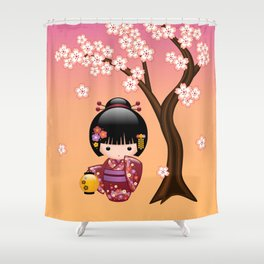Japanese Sakura Kokeshi Doll Shower Curtain