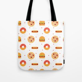 Pizza Pies, Cheeseburgers, Hot Dogs, and Donuts Pattern Tote Bag